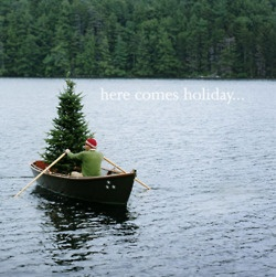christmas tree in a boat
