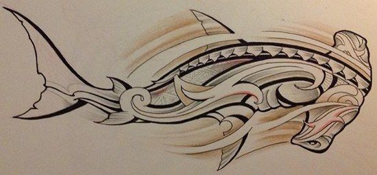 Croquis pour tattoo d 39 un mod le de requin marteau de - Dessin espadon ...