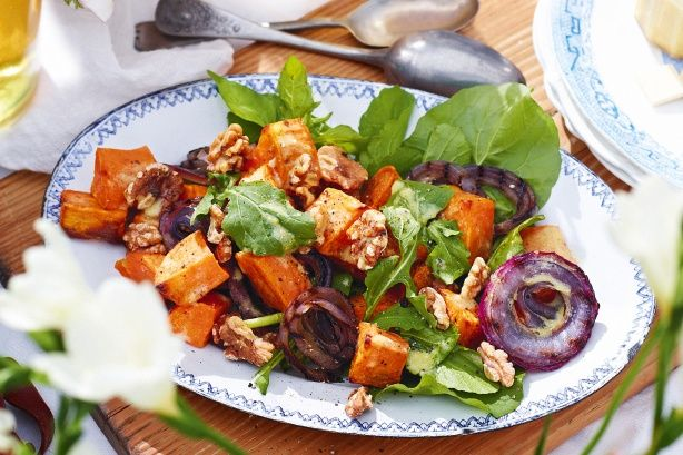 Sweet potato and roasted onion salad