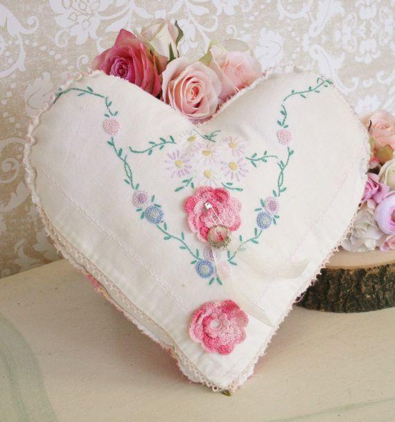 Vintage Ring Bearer Pillow Shabby Chic Wedding