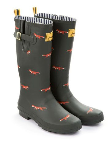 Joules WELLY PRINT Womens Rain Boot, Green Fox. From festivals to farmyards and sea fronts to streams, our new printed wellies can be seen making a splash all across the land. Which pair will you pick?