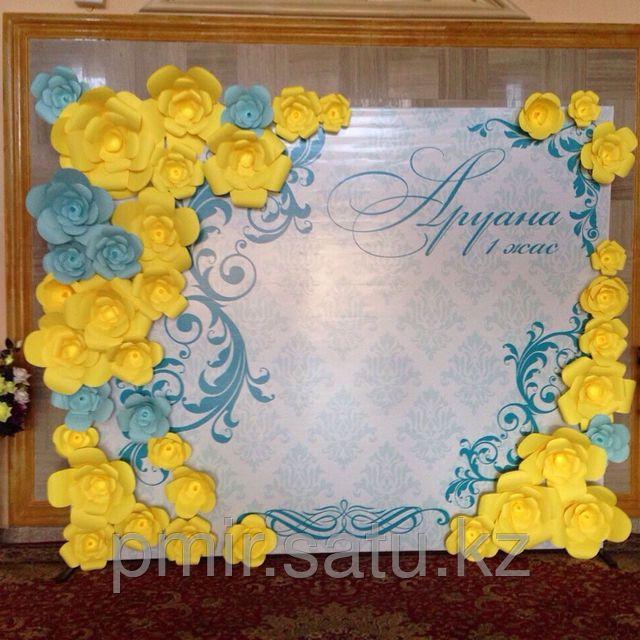 Баннер 3Д из бумажных цветов, пресс-стена, фотозона Астана, баннер ...