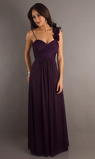 Long Plum Formal Dress at PromGirl.com