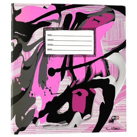 Yoobi x Usher collection includes this awesome 1 Inch Binder with D-Rings. Amazing pink black and gray art!