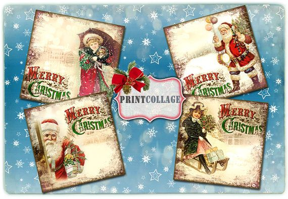 Winter coasters by PrintCollage Beautiful design with vintage winter images for creative project, scrapbooking, cardmaking,coasters.