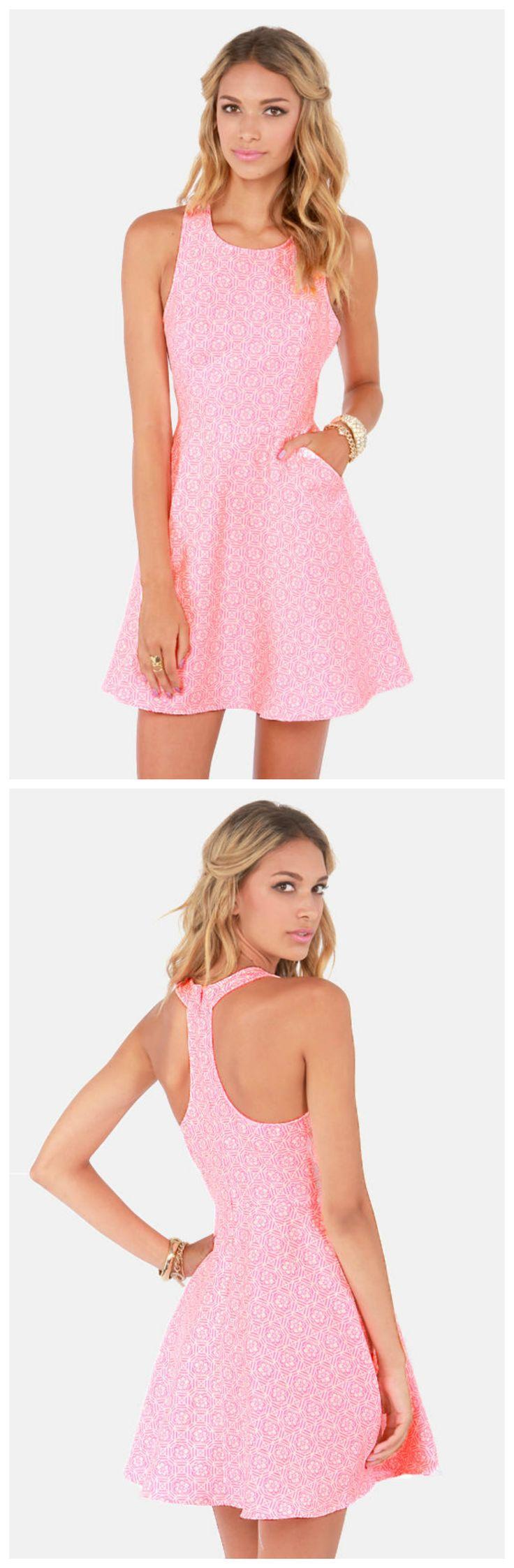 A Brocade Of Fortunes Neon Pink Dress via lulus.com