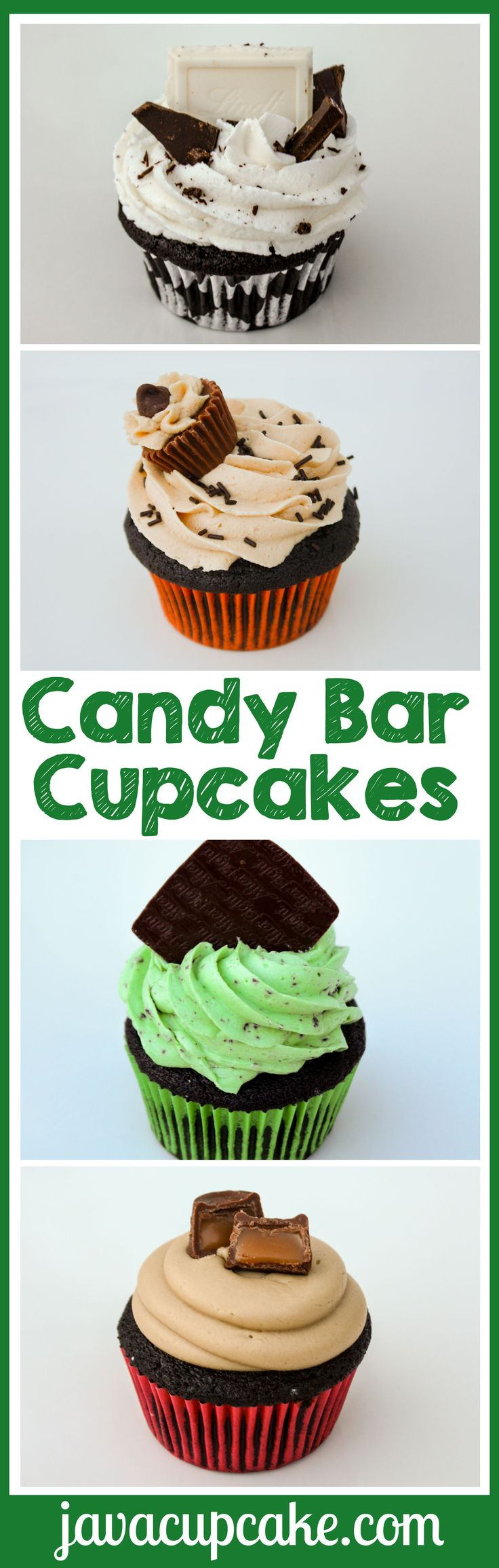 Rich dark chocolate cupcakes made into four very different, extremely delectable, incredibly delicious candy bar-inspired cupcakes! -JavaCupcake.com