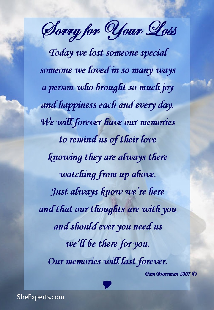 Sorry for your loss poem. Welcome to repin and share enjoy
