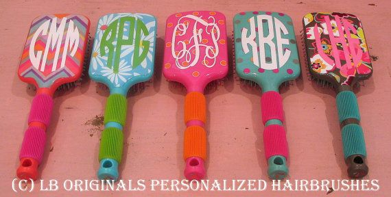 Personalized Hairbrushes by preppypapergirl on Etsy...yep I need one of these...so does little McK!