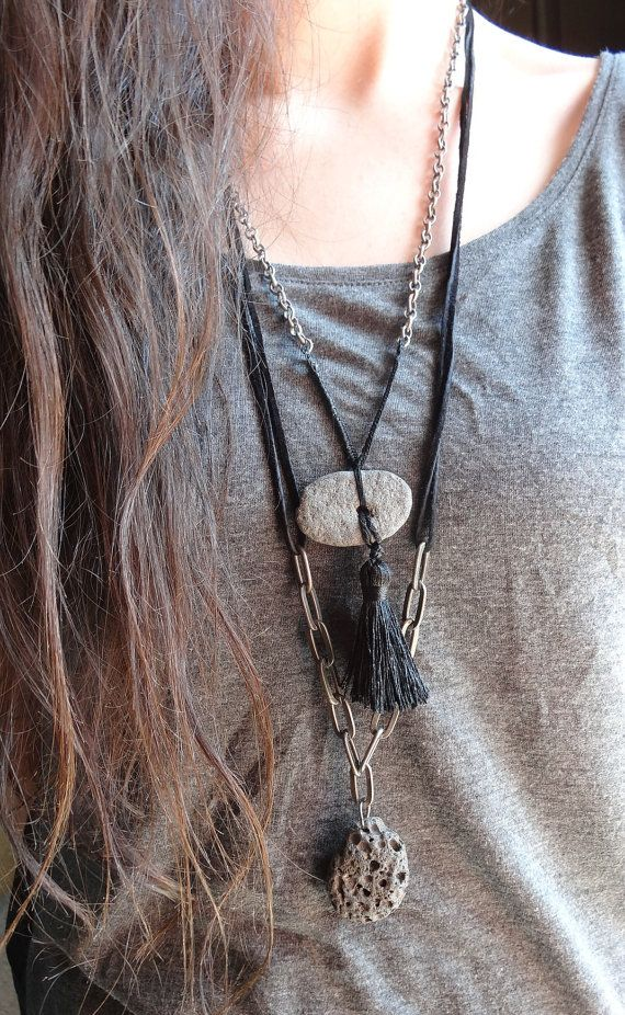 Hawaiian Lava // Statement Necklaces // Set of 2 // Handmade // Monicaj // Tribal, Jewelry, Boho