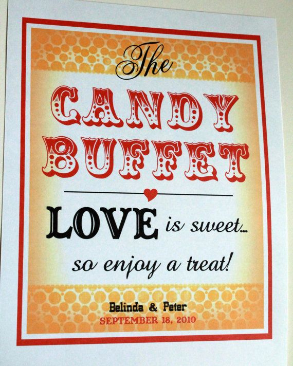 PeRSoNALiZeD 8 x 10 Candy Bar/ Candy Buffet - Wedding Sign- Vintage Circus Single Sheet- With Your Names and Date (Style: CIRCUS CANDY) on Etsy, $10.00