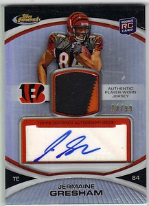 Jermaine Gresham Topps Finest Rookie Auto 2 Color Patch