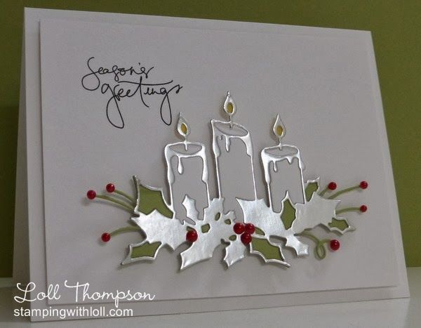 Stamps:  Signature Christmas Sentiments (Pink Petticoat) Paper:  White, Silver, Pear Pizzazz, Daffodil Delight (SU!) Accessories & Tools:  Big Shot, Glowing Candles die (Memory Box), red half pearls, glue, adhesives and dimensionals