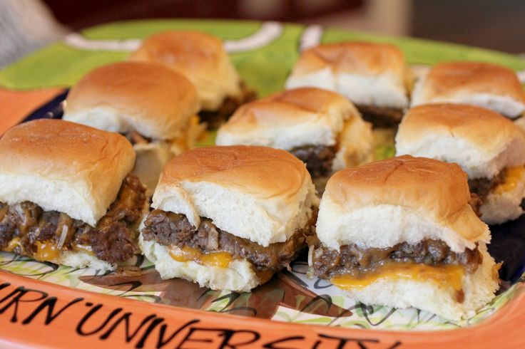 Gameday Sliders - Not your typical mini burgers! These ingredients give the burgers super moist, gravy-like flavoring, and are oozing melty cheese! Definitely a must have at a football party.