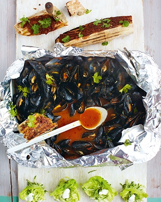 moroccan mussels, tapenade toasties & cucumber salad | Seafood - Recipes (UK) - Jamie Oliver