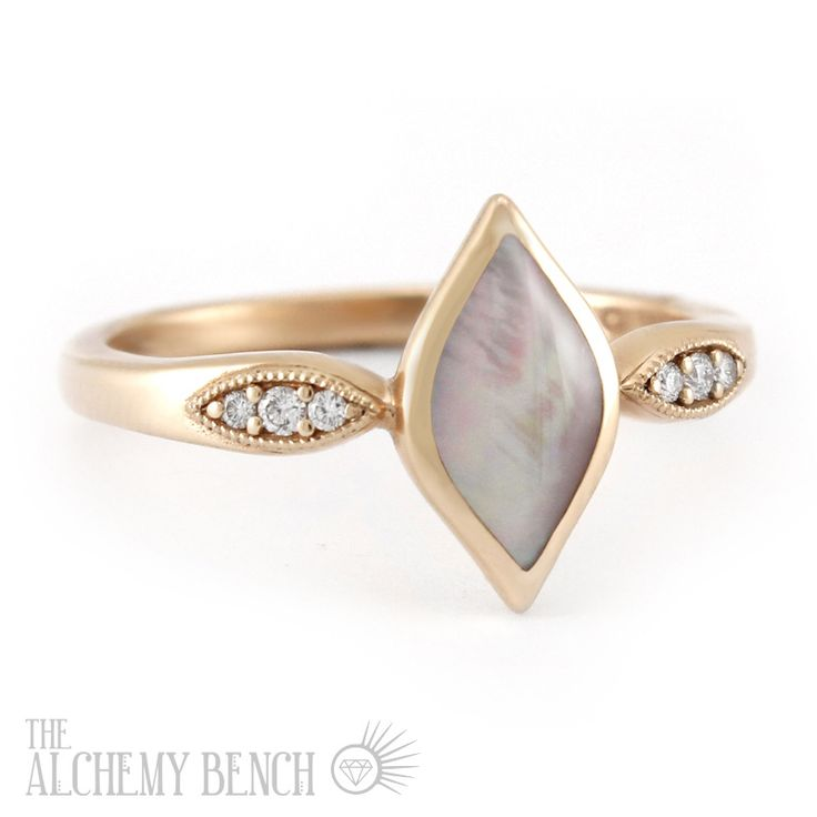 lustrous rose zephyr unconventional pink mother of pearl and rose gold engagement ring - Unconventional Wedding Rings