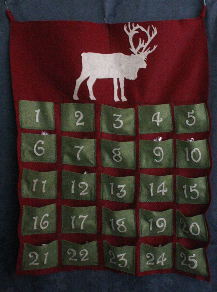 Advent calendar, with pockets and a (Lindt) chocolate for everyday as we count down to Christmas.