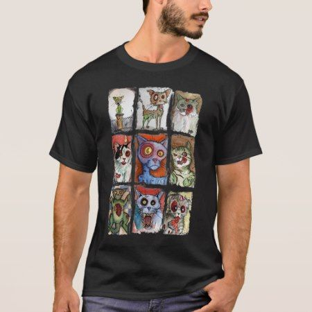 9 zombie cats on a shirt - tap, personalize, buy right now!