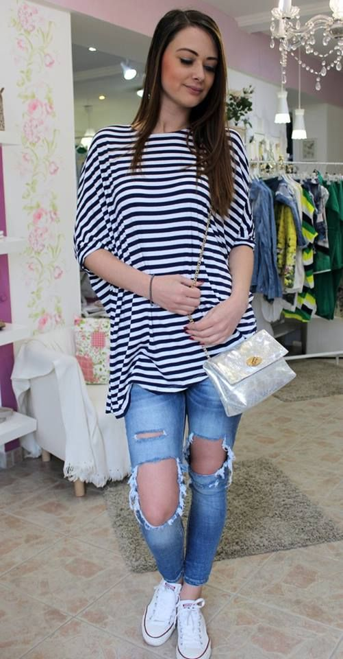 Dark blue & white striped long sleeved shirt