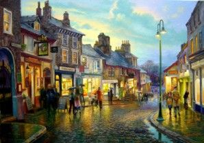 Kendal, Branthwaite Brow and the Chocolate House Signed Print by Graham Twyford
