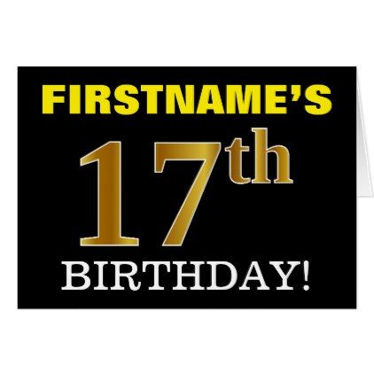 """Black Imitation Gold """"17th BIRTHDAY"""" Card - party gifts gift ideas diy customize"""