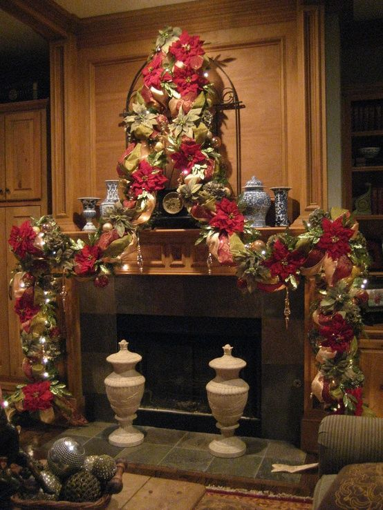 17 best images about christmas mantels on pinterest for Christmas mantel decorations garland