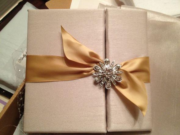 Our DIY Silk Fabric Folder Invitations : Wedding Invitation Fabric  Invitation 1