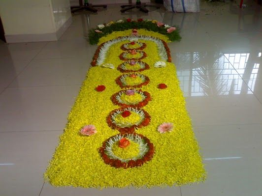 Rangoli with flowers