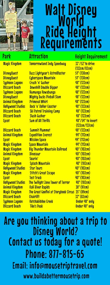 Here's a list of Disney World attractions with height restrictions.  We've grouped them by height, rather than park, so you can measure your child and quickly determine what your child can and can't ride.