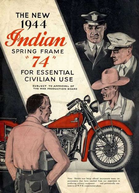Indian Motorcycles for Essential Civilian Use, 1944