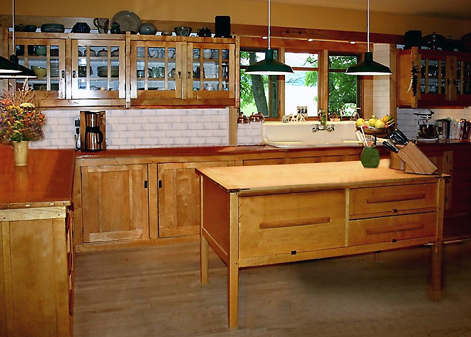 Gamble House Inspired Kitchen. Custom Maple Kitchen Cabinets And Island,  Which Is An