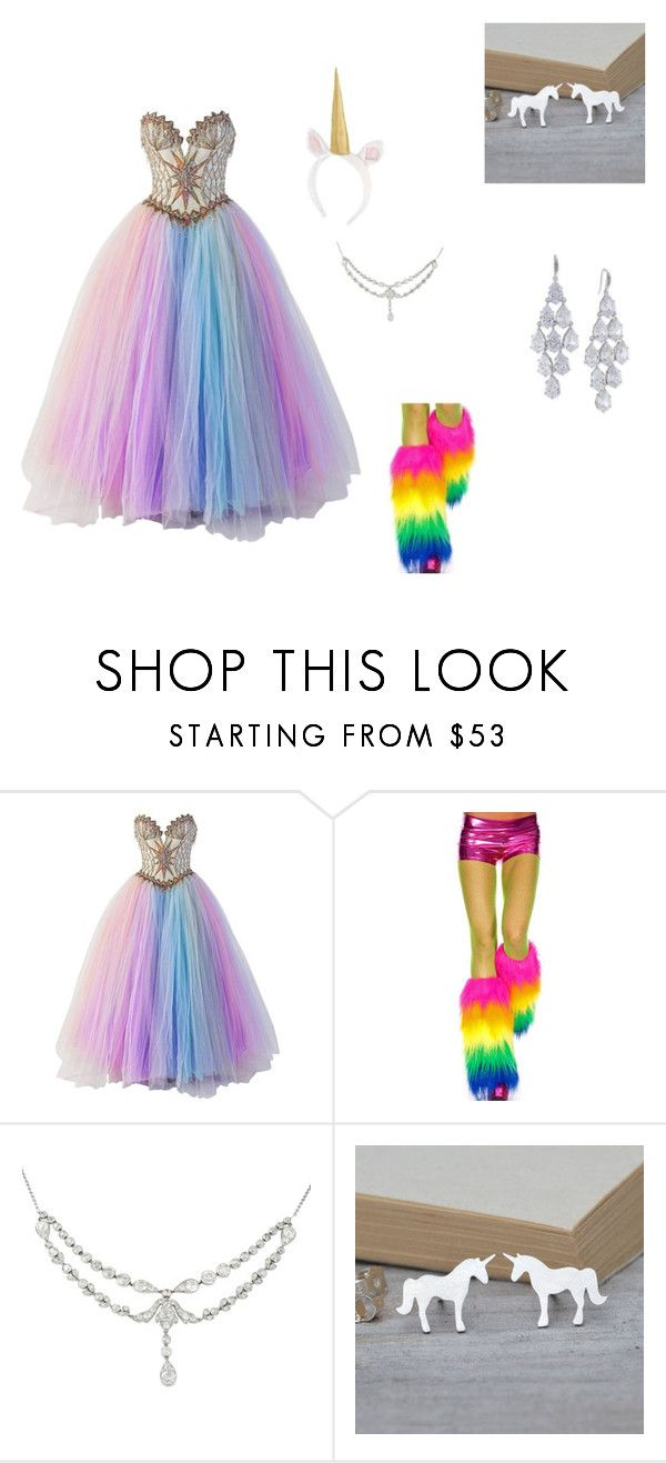"""Perfect unicorn costume"" by firebird101 ❤ liked on Polyvore featuring Bob Mackie, Carolee, women's clothing, women's fashion, women, female, woman, misses and juniors"