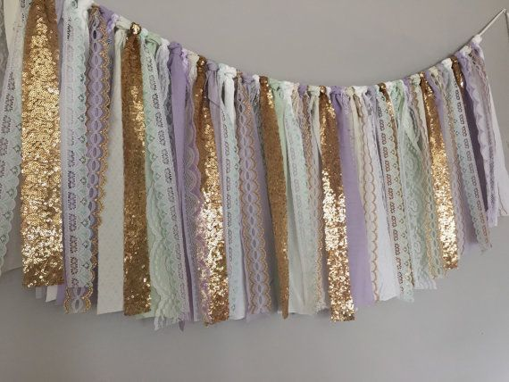 fabric garland banner is made up of lavender, mint, white, ivory fabric, lace, and gold sequin.  Torn and rag tied - edges are meant to fray.