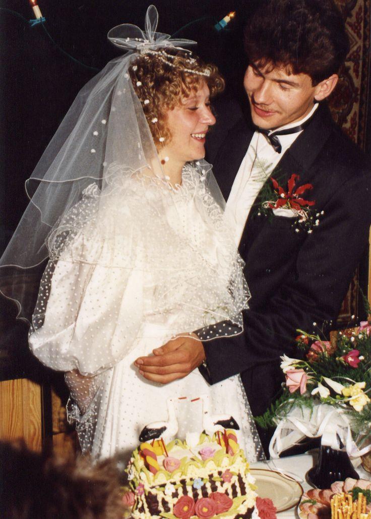 Ślub Agnieszki Skoczylas z Krzysztofem Kucharskim w Nadrybiu 17 października 1991