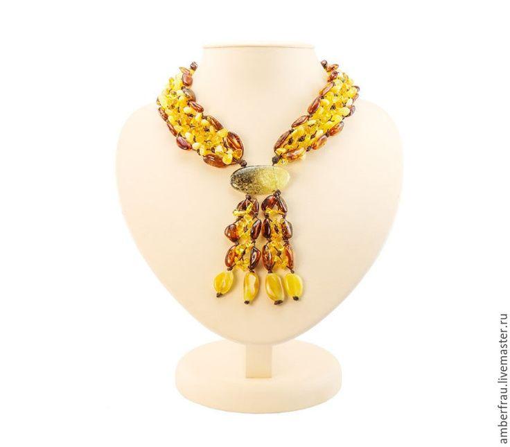 Купить Колье из янтаря дорожка на шнурке (арт. 036) - желтый, янтарь, янтарь купить