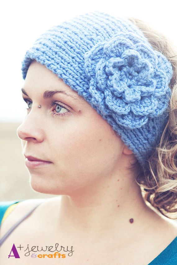 Blue headband light blue knit headband by APlusJewelryCrafts, $18.00