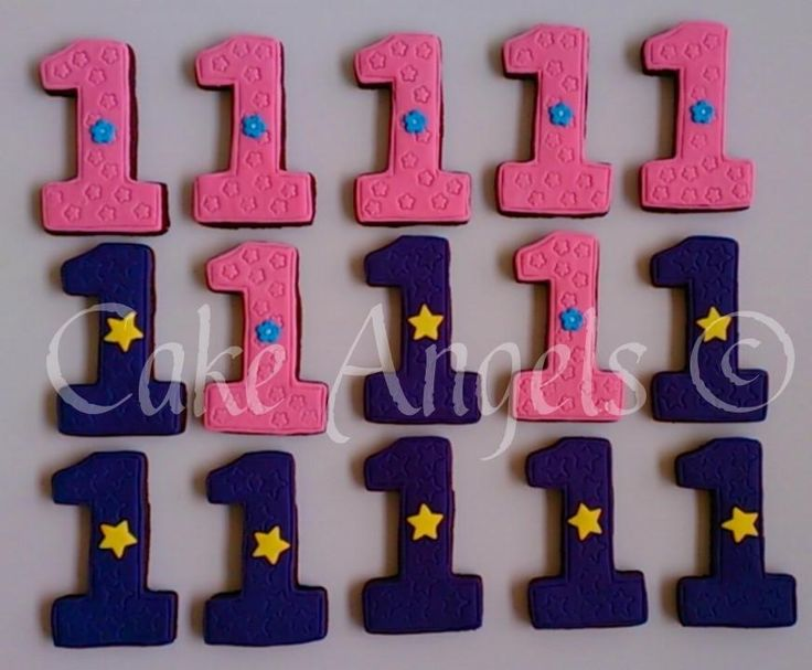 Number 1 Cookies for a 1st Birthday Party for twins.