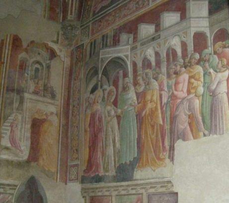 Lorenzo Monaco, affresco dello Sposalizio, nella chiesa della Trinita, Firenze