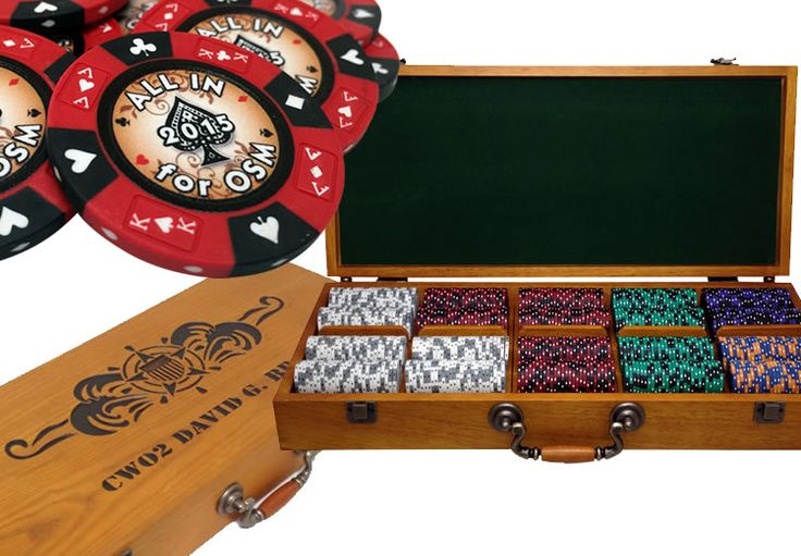 Custom Engraved 500 chip capacity oak wood poker case. Engraving is hand painted with dark color fill. The chips shown were custom printed on 14 gram clay.  10% off on this chip set for Father's Day with your customization! Use coupon code DADGRAD. Offer good until June 17th, 2015.
