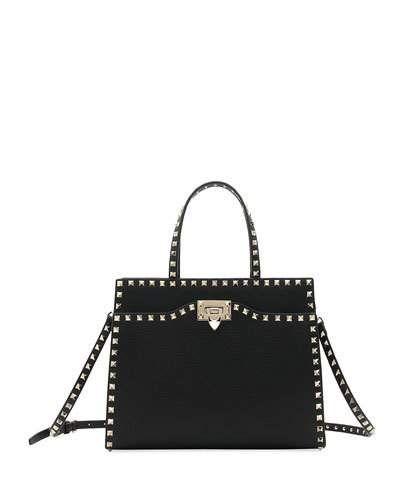 6fd71aceb83ea Valentino Garavani Rockstud Medium Vitello Leather Tote Bag