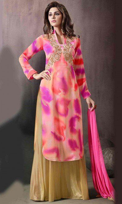 Magenta and Beige Party Wear Palazzo Suit-