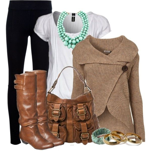 Casual Outfit: Cardigans, Sweaters, Fall Style, Fall Outfits, Buttons, Casual Outfits, Necklaces, Boots, Bags