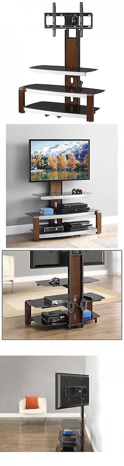 Entertainment Units TV Stands: Tv Holder Stand With Swinging Mount Entertainment Center Storage Glass Top Brown BUY IT NOW ONLY: $95.97