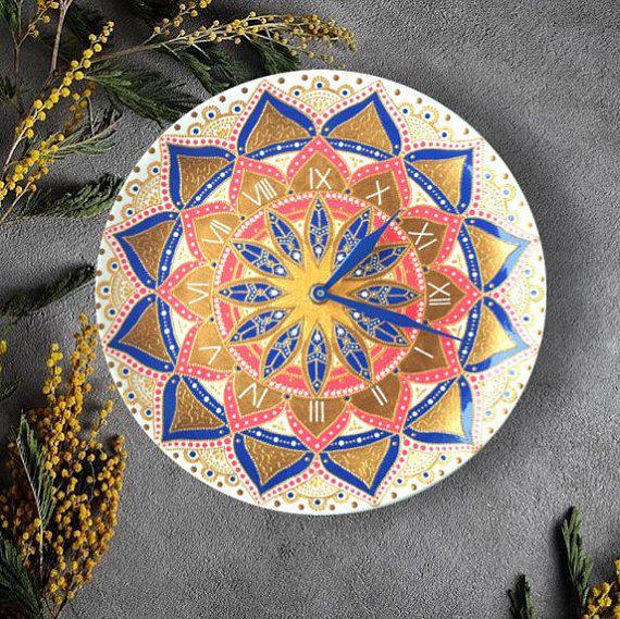 Decorative wall clock, Mandala wall clock, Unique home decor, Original wall clock, Ceramic clock
