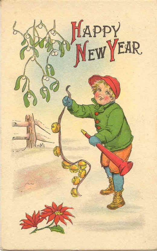 happy new years postcard