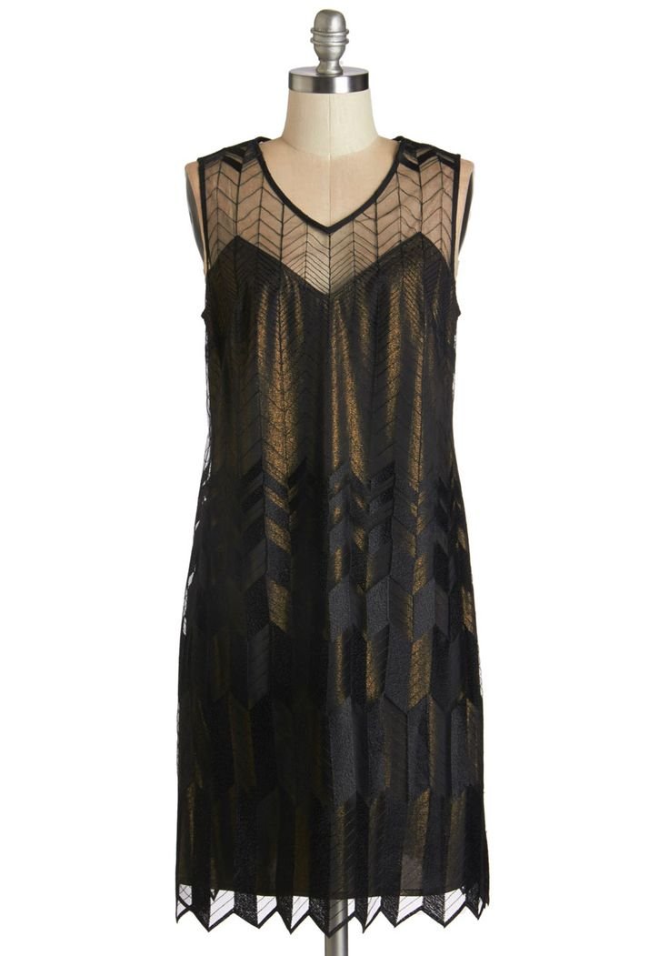 Deco With the Flow Dress. You dont know where the night will take you and this swingy, art deco-inspired dress, but youre ready for anything! #black #modcloth