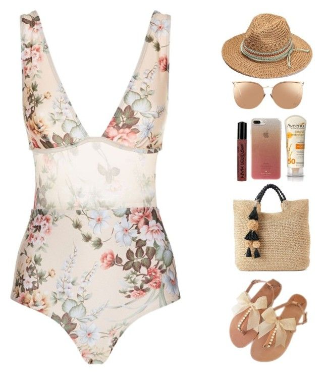 """""""Honeymoon Beach Day"""" by allyssister ❤ liked on Polyvore featuring Zimmermann, Linda Farrow, SONOMA Goods for Life, Aveeno, NYX and Kate Spade"""