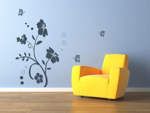 Flores con mariposas - Vinilos decorativos florales