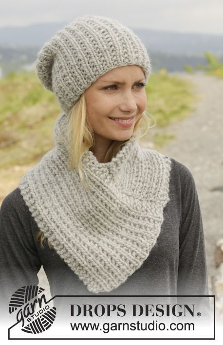 "Knitted DROPS hat and neck warmer in ""Eskimo"". ~ DROPS Design"