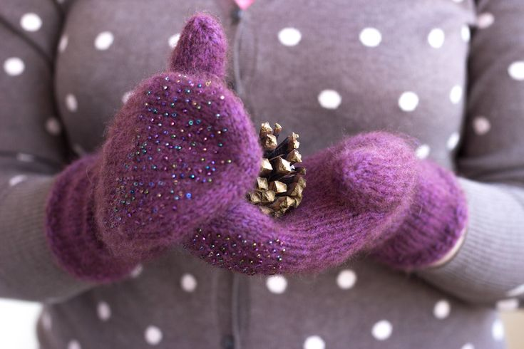 In winter it is especially important to protect your hands from cold. Cold and wind make your hands skin peel off. To protect hands you have to wear mittens. These nice mittens are knitted of alpaca cotton blend with bead decoration. They are soft, fluffy and beautiful